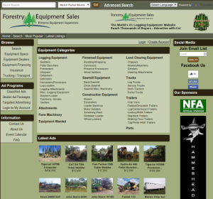 The new Forestry Equipment Sales website front page.